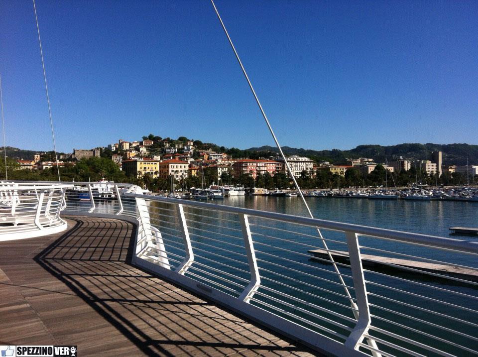 The promenade of La Spezia viewed from the deck of Thaon Revel footbridge
