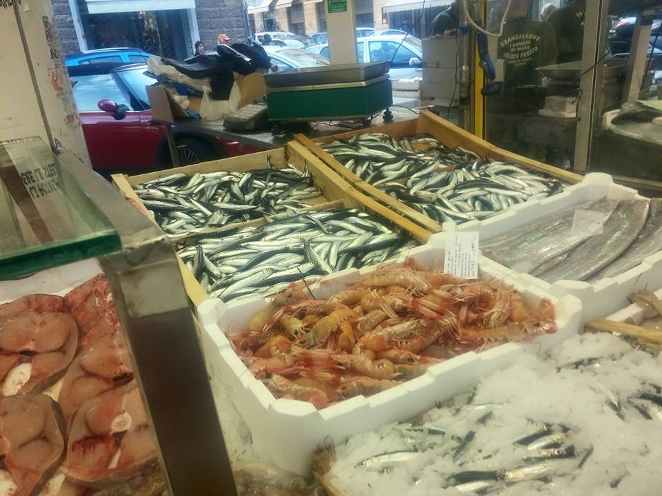 Among the benches of the fish market in La Spezia